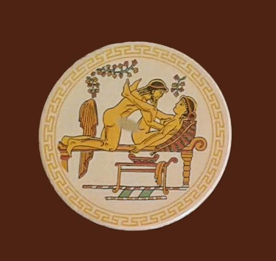 Ceramic Coasters Ancient Greek Satire Scenes Set Of 6 With Etsy