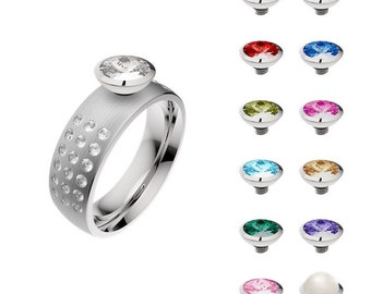 Interchangeable stainless steel and Swarovski Crystal ring