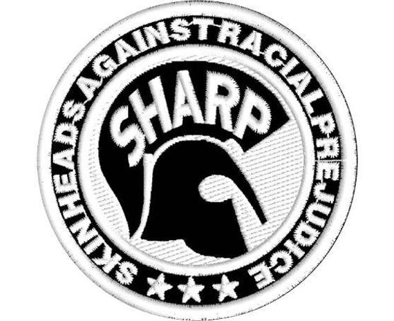 SHARP Skinheads Against Racial Prejudice Iron On Sew On Embroidered Patch 3/""
