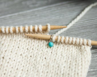 Set of 6 Turquoise Dyed Howlite Stitch Markers for Knitting