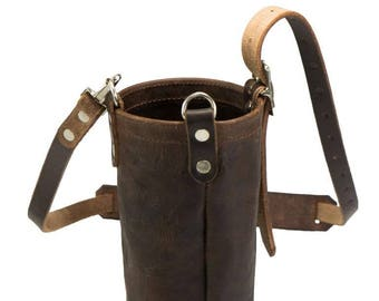 HikerPouch - Leather Water Bottle Pouch with Carrying Strap and Hook for Carabiner