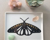 Cosmic Moth Witchy Moon Phases Catchall Small Tray for Crystals, Jewelry, Rings, Sacred Space