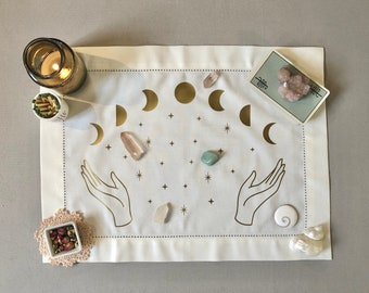 Moon Witch Altar Cloth for Crystals, Tarot, Ritual, Meditation, Sacred Space - Ivory