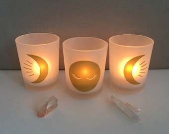 Witchy Triple Goddess Moons Votive Candle Holders for Ritual, Meditation, Altar, Sacred Space