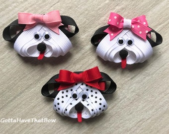 88c814c6ed0 Puppy Bows  Puppy and Dog Clips  Black and White Spotted Puppy  White Dogs   Doggy Clip  Doggie Bow  Animal Bow  Small Pet Bow