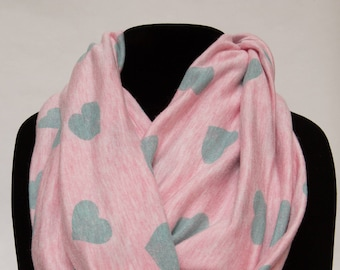Infinity Scarf - Mint Hearts On Heathered Pink