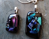 2 Fused glass Pendants in Blue and Pink!