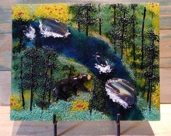 bear art/glass wall art/fused glass art/unique gifts/desktop art/river art/framed glass art/glassfusedart/wildlife art/glass landscapes