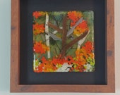Birch and Brown Trees Fused glass