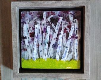birch trees/fused glass art/purple glass/framed glass art/glass tree art/glass wall art/glass trees/glass home decor/tree art/glass trees