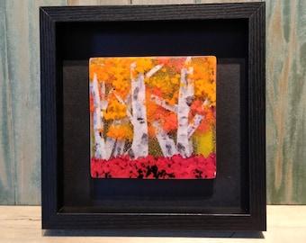 glass wall hanging/birch tree art/fused glass art/fall glass art/glass landscapes/framed glass art/birch tree art/layered glass art