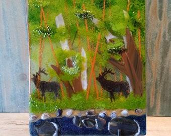 fused glass art/elk art/nature landscape/glass panel/glassfusedart/glass wall hanging/table top glass art/table art/glass art/nwglassart