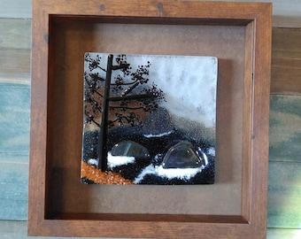ocean art/fused glass art/glass wall art/glass wall hanging/sea art/framed glass art/WA art/home decor/ocean scene/sea art/sea glass art