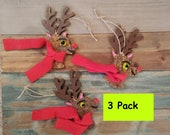 deer ornament/bulk ornaments/wood deer ornament/fused glass ornaments/glass Christmas ornaments/tree glass decor/rudolph
