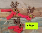Rudolph ornament/deer ornaments/bulk wood ornaments/christmas ornament/deer ornament/bulk deer ornaments/wood deer/lot of ornaments