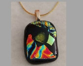 Gold Pendant Fused Glass- Dichroic