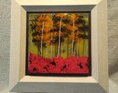 Glass Art, Birch Tree Fused Glass, glass wall hanging, yellow glass, tree art, birch tree art, nature art, fused glass art, framed glass art