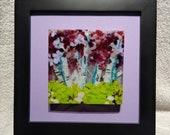 Glass Art, Birch Tree Fused Glass, glass wall hanging, lavender glass, tree art, birch tree art, nature art, fused glass, framed glass art