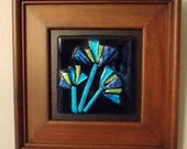 Abstract dichroic flowers fused glass
