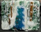 glass art, snow, fused glass panel, winter art, home decor, glass panel, nature glass, fused glass art, snowy river art, glass desktop art