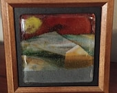 Fused Glass mountains with a sunset
