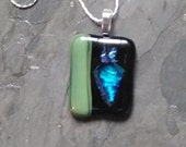 Green Blue Dichoric glass Pendant with chain