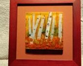 Glass Art, Birch Tree Fused Glass, glass wall hanging, orange glass, tree art, birch tree art, nature art, fused glass art, framed glass art
