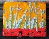 Birch tree art, fused glass, glass panel, desktop art, tree art, fall art, tree art, fused glass art, home decor, nature art, landscape art
