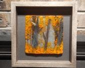 Fused glass wall art, tree art, framed glass art, fused glass art, fused glass panel, fall glass art, nature art, framed glass art