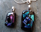 Fused glass pendant, pendant with chain, Fused glass Pendants, bulk glass pendant, pink glass pendant,  blue dichroic pendant, pink dichroic