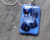 blue dichroic fused glass pendant, fused glass pendant, blue dichroic pendant, dichroic pendant, pendant with chain
