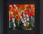 Birch Tree Forrest Fused Glass Wall Art - Framed