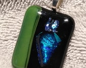 Dichoric glass Pendant with chain, fused glass pendant, green glass pendant, pendant with chain, glass jewelry, fused glass jewelry