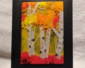 Birch Tree, birch Forest, Fused Glass Wall Art, Framed Orange, yellow, red, birch tree art, nwglassart, home decor, glass wall art,