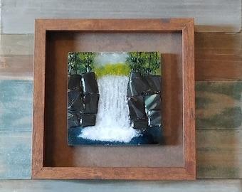 waterfall art/fused glass art/glass waterfall art/glass landscapes/framed glass art/glass wall art/glass waterfall/unique gifts/home decor