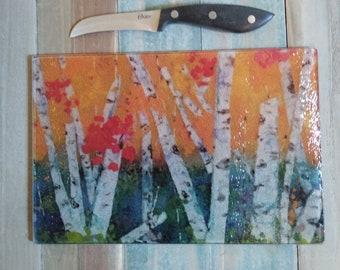 cutting board/glass cutting board/glass landscape/birch tree cutting board/birch trees/glass birch/cheese board/decorative glass panel