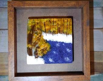 lake art/Fused Glass Art/glass landsapes/glass panel/tree art/glass wall art/home decor/framed glass art/glass wall art/glass wall hanging