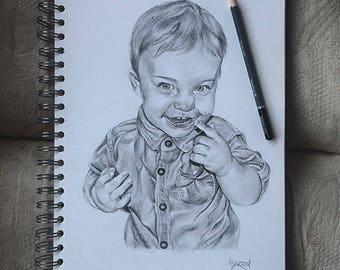 Custom Hand Drawn Pencil Portrait Drawing A4