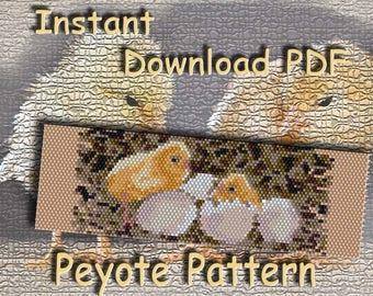 Peyote Bead Pattern, Seed Bead Pattern, Miyuki Delica, PDF Instant Download, Bracelet Pattern, Beadwoven Bracelet, Сhicken Pattern