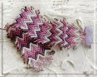 Colorful bracelet, Bracelet herringbone, Beadwoven bracelet, Seed Bead Bracelet, Embellished Beaded Bracelet, Bracelet violet