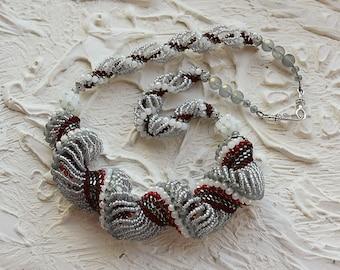 Beaded necklace Silver color, Unique necklace, Beaded jewelry, Long Necklace, Seed bead Necklace