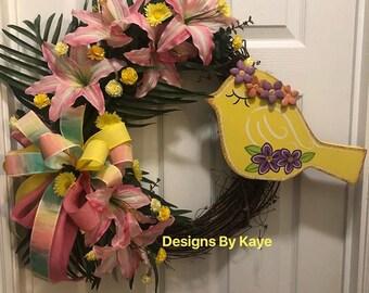 Spring/summer wreath with bird