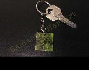 Square keychain- galaxy