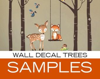 SAMPLES Woodland Nursery Wall Decor 4 Birch Trees Fox & Friends Fox Deer Owl Raccoon Birds Wall Decal Neutral Nursery