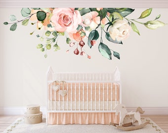 f7eb47c17483 Watercolor Floral Wall Decals ROSE GARDEN Bouquet 11A Pink   White Roses  Peonies Blooms Wall Mural Romantic Flowers Blossoms Wall Decals