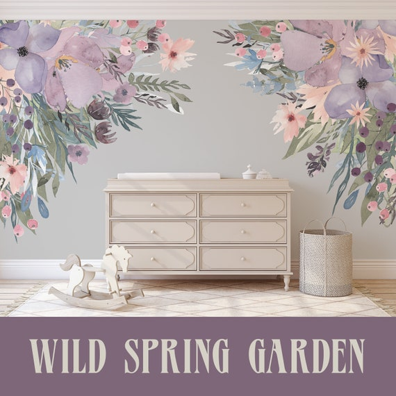 Corners Wild Spring Garden Lavender Pink Wall Decal Flowers Etsy