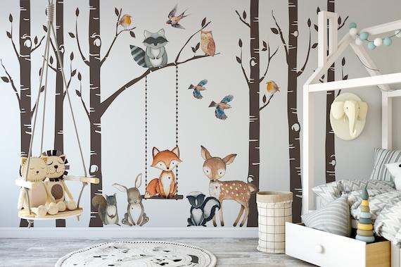 Woodland Nursery Wall Decor 6 Birch Trees Fox Friends Fox Etsy