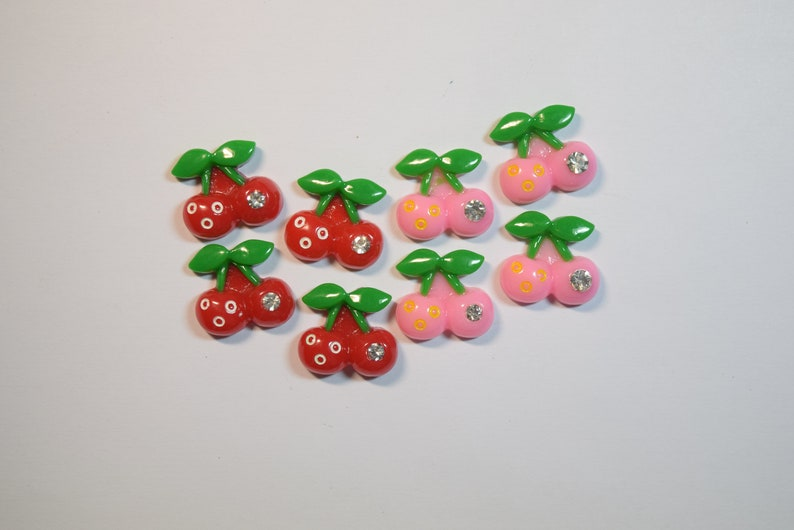 Embellishments B1 DIY Projects Crafts 18mm PINKRED Cherries Flatback Cabochons for Scrapbooking