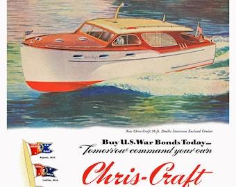 1945 WWII-era Vintage Poster Chris Craft Boats 36-ft Cruiser