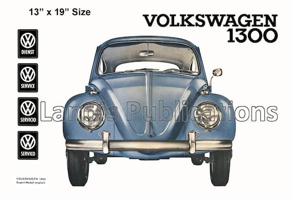 1961 VW Beetle Convertible Cabriolet Vintage Poster